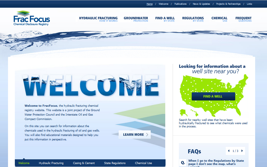fracfocus web page screenshot