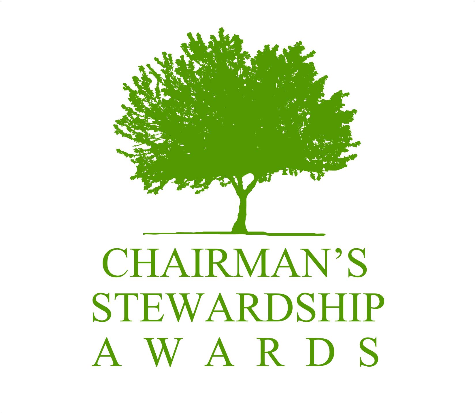 a green tree logo of the Chairman's Stewardship Awards