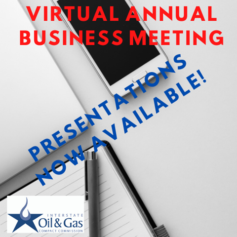 background with a smart phone, pad of paper, a pen laying on top of a datebook. text overlay: virtual annual business meeting presentations now available!